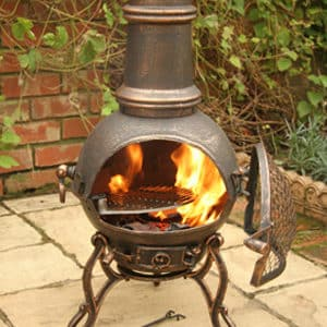 Toledo Cast Iron Chiminea Medium, Bronze