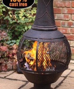 Opera Open Bowl Cast Iron Chiminea Large