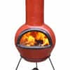 Colima Mexican Chiminea - Cranberry & Black (Large)