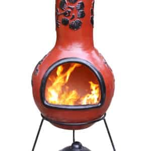 Rosas Mexican Chiminea - Glaze Effect Red & Black