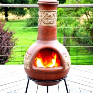 Tikal XL Clay Chiminea - Antique Red