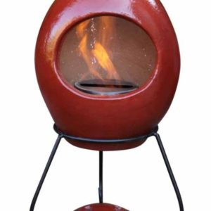 Ellipse clay bio-ethanol fireplace in cranberry