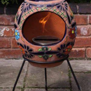 Talavera Ellipse Bio-ethanol Fireplace with Iron Stand-0