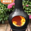 Sybele clay chiminea in black