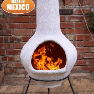 Tibor Mexican Chiminea pale mottled grey in garden