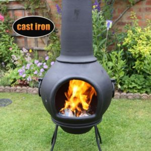 Helios Cast Iron Chiminea - Front angle in garden