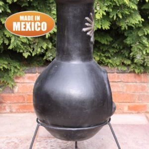 Sol Mexican Chiminea Extra Large in black - side view