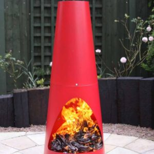 Oslo steel chiminea in red with fire