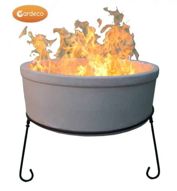 ATLAS Jumbo fire bowl made of Chimalin AFC, inc stand & BBQ grill, glazed ivory