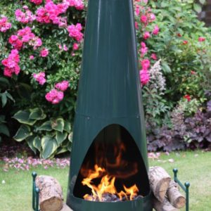 Oslo Steel Chiminea Fireplace in Green - Front view with Fire