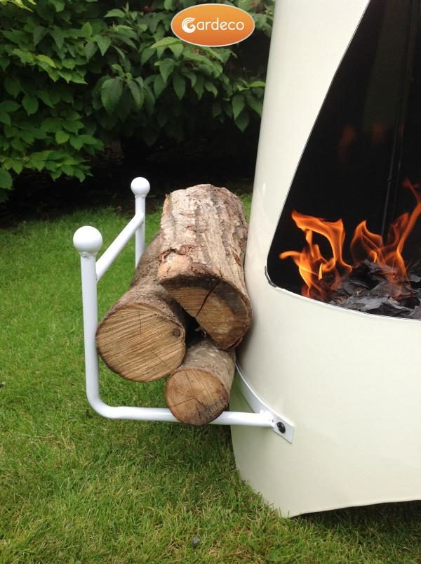 Oslo Steel Chiminea Fireplace in Ivory - Front View Close Up
