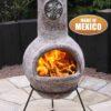 Cruz Mexican Chiminea in brushed sandstone