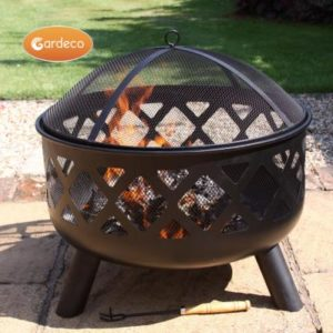 Tara steel firebowl with fire