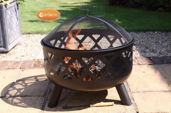 Tara steel firebowl with fire