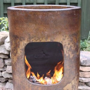 Altiplano Mexican Art Chiminea with fire front view