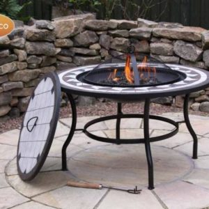 Calenta Steel Fire Bowl Table with fire