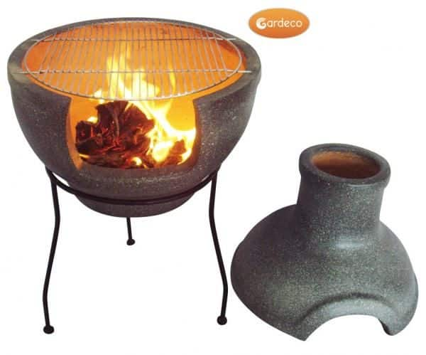 Cozumel BBQ Chiminea with lid removed and fire