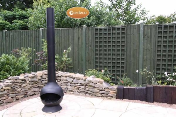Kaska Cast Iron and Steel Chiminea in garden