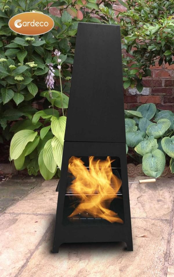 Sven steel chiminea fireplace with fire