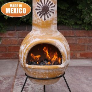 Sol Mexican chiminea in rustic orange