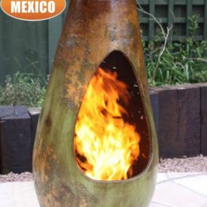 Gota Mexican Art Chiminea in Mottled Green and Brown (Large) - Lifestyle
