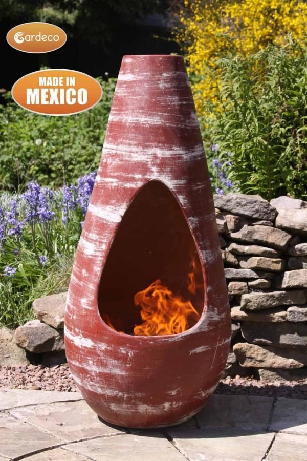 Gota Mexican Art Chiminea in Red (Medium) - Lifestyle