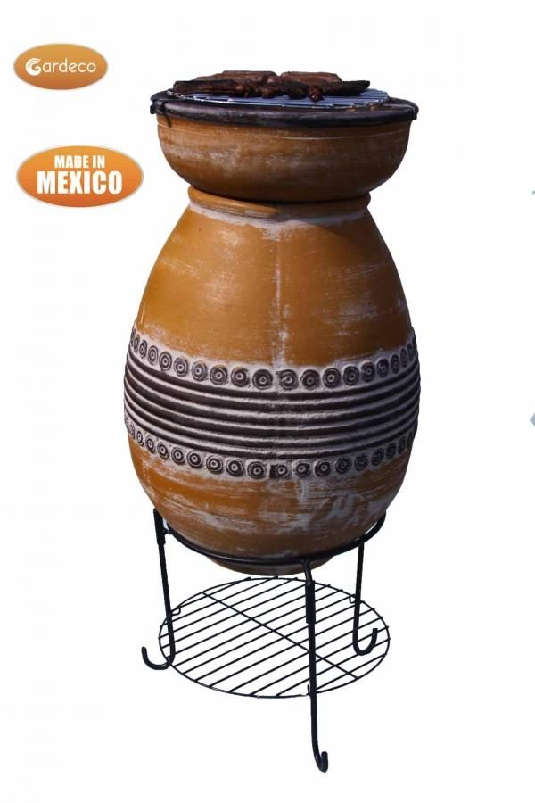 Asador Azteca Clay BBQ Chiminea - rear view