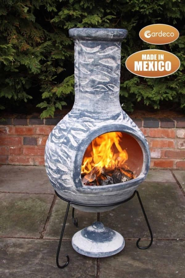 Olas Clay Mexican Chiminea Extra Large (side view)