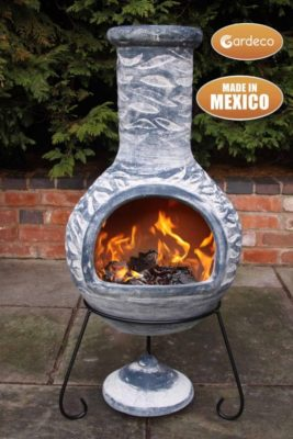 Olas Clay Mexican Chiminea Extra Large (with fire)