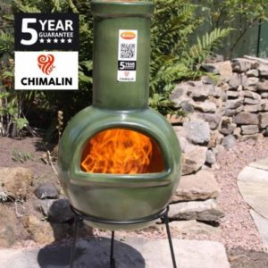Sempra Chimalin AFC Chiminea - Glazed Green with fire